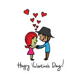Hand drawn girl boy expressing love on valentines day vector gra Stock Photos