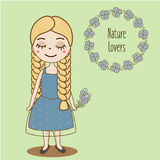 Hand drawn girl with braids. Beautiful kid in blue summer dress. Cute female character. Vector illustration. Hand drawn girl with braids. Beautiful kid in blue Stock Images