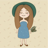 Hand drawn girl in green hat and summer dress. Artistic boho female character. Vector illustration. Hand drawn girl in green hat and summer dress. Artistic boho Royalty Free Stock Photography