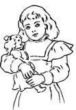 Hand Drawn girl holding doll Stock Images