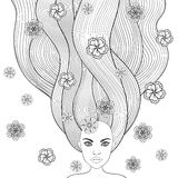 Hand drawn girl like forest fairy with long hair and flowers. Co stock illustration