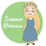 Hand drawn girl with long blonde hair and forget-me-not flowers wreath. Beautiful kid in blue summer dress. Cute female character. Royalty Free Stock Image