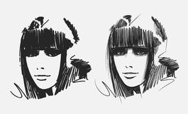 Hand drawn girl portraits. Portraits of two young girls. Hand drawn illustration Royalty Free Stock Image