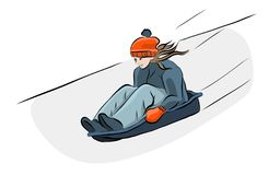 Hand drawn girl with sledge in winter. Vector Royalty Free Stock Image
