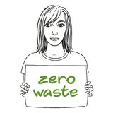 Hand drawn girl with Zero waste sign in her hands. royalty free illustration