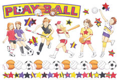 Hand-Drawn Girls Sports Illustrations Stock Photos
