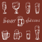 Hand drawn glasses of beer. Hand drawn different glasses of beer Royalty Free Stock Image