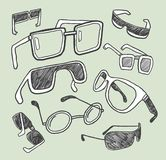 Hand drawn glasses doodles. Collection Royalty Free Stock Photo