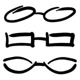 Hand Drawn Glasses and Sunglasses silhouettes. Vector Sketch stock illustration