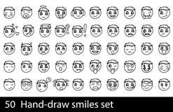 Hand-drawn glimlachreeks Stock Fotografie