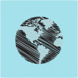 Hand drawn globe doodles Royalty Free Stock Photo