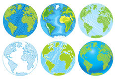 Hand drawn Globe. Sketch illustration of planet earth. Vector illustration. Isolated on white background Royalty Free Stock Photos