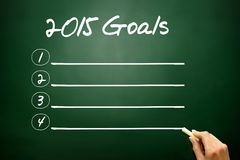 Hand drawn 2015 Goals concept, blank on blackboard Stock Images