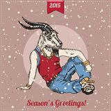 Hand drawn goat man with snowfall. Hipster. Christmas greeting card. Vector illustration royalty free illustration