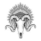 Hand Drawn Goat Skull in zentangle Feathered War bonnet, high da Royalty Free Stock Image