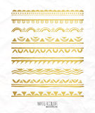 Hand drawn gold borders collection. Decorative elements for your design. Vector set Stock Image