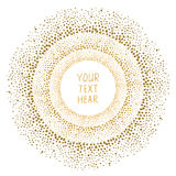 Hand drawn gold dots frame on white background. royalty free illustration