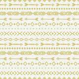 Hand drawn gold geometric ethnic seamless pattern Stock Photography