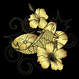 Hand drawn gold Koi fish and flower japanese tattoo style on black background. Beautiful line art Koi carp tattoo design ,Beautiful doodle art Koi carp tattoo Stock Photo