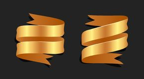 Hand drawn gold satin ribbons on blacke background isolated. Fla. T objects for your design. Vector art illustration royalty free illustration