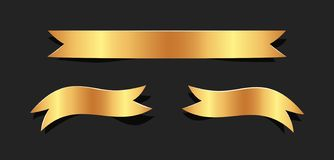 Hand drawn gold satin ribbons on blacke background isolated. Fla. T objects for your design. Vector art illustration vector illustration