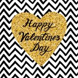 Hand drawn gold sparkle heart, text Happy Valentines Day on zig zag seamless pattern. Modern romantic typography print in golden and black color Design Royalty Free Illustration