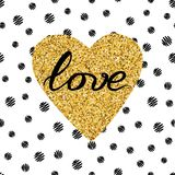 Hand drawn gold sparkle heart, text love on seamless pattern  Stock Images
