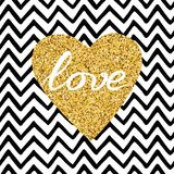 Hand drawn gold sparkle heart, text love on zig zag seamless pattern Stock Image