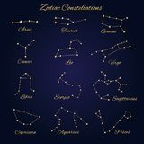 Hand drawn gold vector zodiac constellations set of 12 signs iso. Lated on the dark background Stock Photos