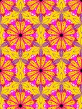 Hand-drawn gold yellow and pink daisies in a repeating pattern stock illustration