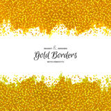 Hand Drawn Golden Borders. Abstract Dotted Textures. Vector Painted Decorations Stock Photo