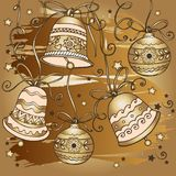 Hand drawn golden christmas bells pattern. Design for greeting cards with Merry Christmas and Happy New Year royalty free illustration