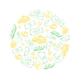 Hand Drawn Golden Coins and Green Cash Dollars Arranged in a Circle. Doodle Drawings of Cash. Stock Photography