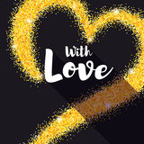 Hand-drawn golden heart with glitter. With Love poster for your loved ones. Shining dust, the shape of heart on black Royalty Free Stock Photos