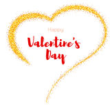 Hand-drawn golden heart with glitter. Valentine s day poster for your loved ones. Shining dust in the shape of heart Royalty Free Stock Image