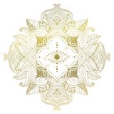 Golden mandala with eye inside flower. Hand drawn golden mandala with eye inside flower, and leaves in boho style. Isolated decorative ethnic asian element for a stock illustration