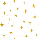 Hand drawn golden stars seamless pattern Stock Photos