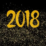2018 hand drawn golden vector sign on black background. Happy New Year 2018 hand drawn golden vector wishes on black background Stock Photography
