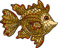 Hand drawn goldfish illustration. Decorative ornamental fish drawing Stock Photos