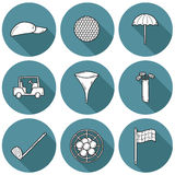 Hand drawn golf icons Stock Images