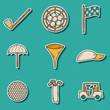 Hand drawn golf stickers Royalty Free Stock Photography
