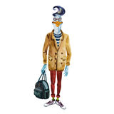 Hand drawn goose dressed up in modern clothes. Royalty Free Stock Photos