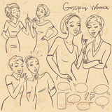 Hand drawn gossiping girls Stock Images
