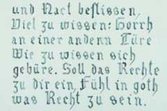 Hand drawn gothic calligraphical text. Green hand drawn gothic calligraphical text Stock Photography