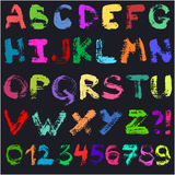 Hand drawn gouache alphabet Stock Photography