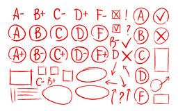 Hand drawn grade results, check marks set of icons. School, education, business symbol. Exam, examination, test vector. Hand drawn grade results, check marks set Stock Photography