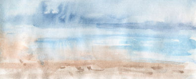 Hand drawn gradient abstract background. Watercolor desert and sky. Painting splash illustration royalty free illustration