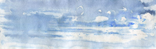 Hand drawn gradient abstract blue background. Watercolor sea, sky, splash Stock Photos