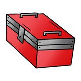 Hand drawn gradient cartoon doodle of a metal tool box. A creative gradient cartoon doodle of a metal tool box royalty free illustration