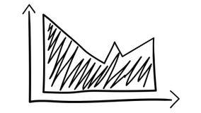 Hand-drawn grafiek met in de schaduw gesteld gebied royalty-vrije illustratie
